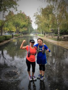 "My friend Elisia and I ran the whole time together and finished strong in the rain. She told me: ""We never walk to the finish line. Let's finish strong."" OUr last miles were wet, too, as it started to rain."